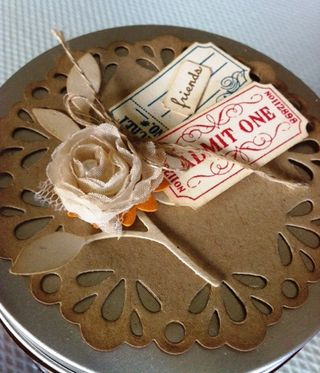 Stampin up fan fair doily ticket altered jar