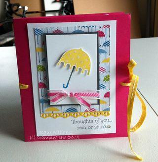 stampin up rain or shine notecard holder book mini album umbrella rain or shine