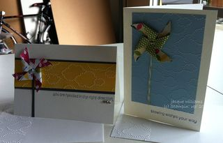 stampin up pinwheel cloudy day notecards easy