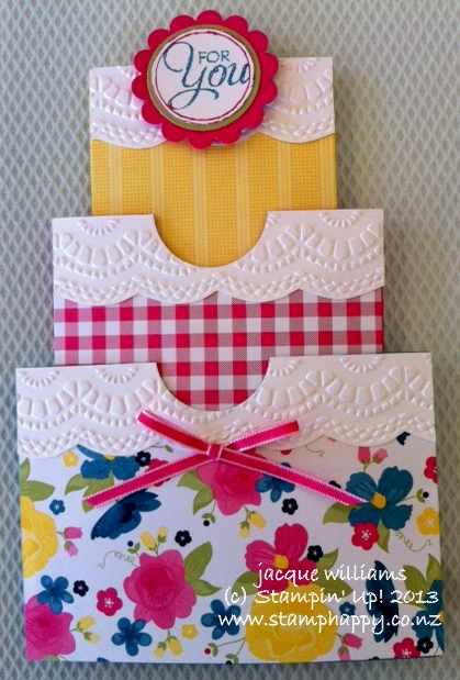 Stampin up gingham garden cake slider triple card