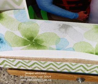 Stampin up watercolor wonder layout stitching natural ribbon