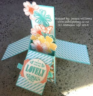 Stampin up box card flower shoppe retro fresh
