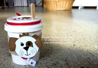 Stampin up punch art dog coffee cup