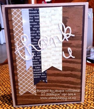 Stampin up masculine thank you card silver glimmer