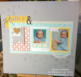 Stampin up scrapbooking layout flashback smoky slate
