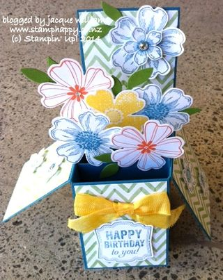 Stampin up pop up box card watercolor wonder