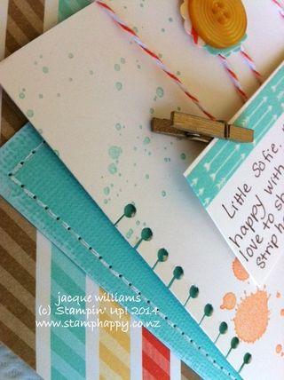 Stampin up retro fresh scrapbooking layout coordinations coastal cabana faux stitching