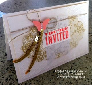 Stampin up lace vintage sequin gold manager reception