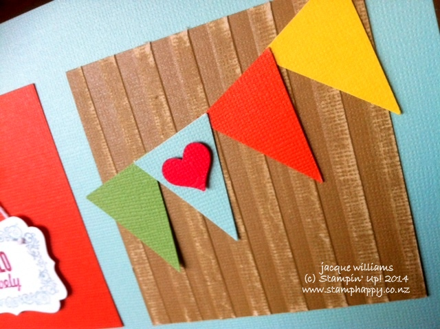 Stampin up striped embossing pennant builder sweetheart