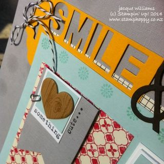 Stampin up scrapbooking layout flashback crushed curry little letters dies