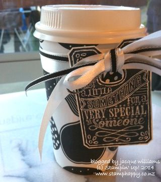 Stampin up back to black coffee cup chalk talk