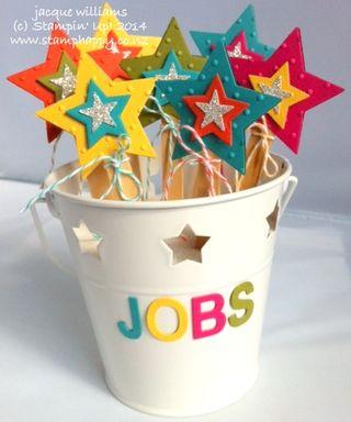 Stampin up star framelit chore job chart children