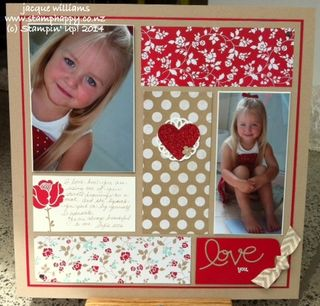 Stampin up 2 photo fresh prints layout feminine color blocking
