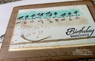 Stampin up masculine birthday easy wetlands hardwood linen thread workshop idea