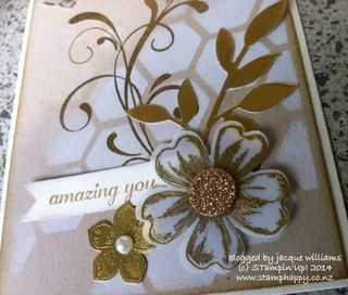 Stampin  up hexagon hive gold foil petite petals