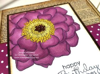 Stampin up blendabilities rich razzleberry dictionary blended bloom vintage rhinestones daffodil delight