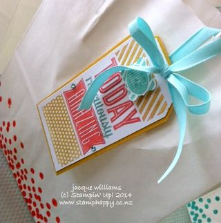 Stampin up amazing birthday gift tag