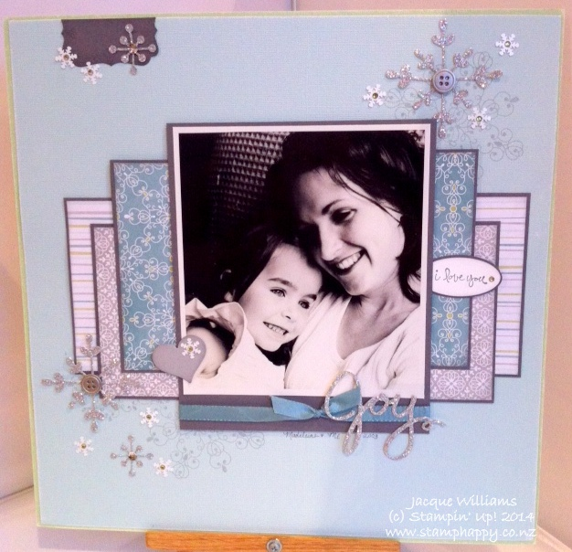 Stampin up letterpress winter all is calm scrapbooking layout