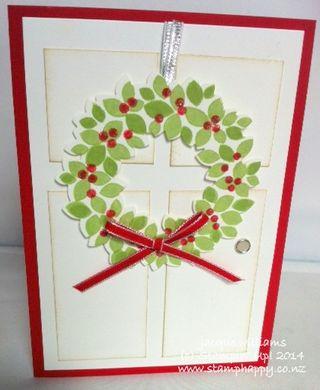 Stampin up wondrous wreath rich razzleberry christmas