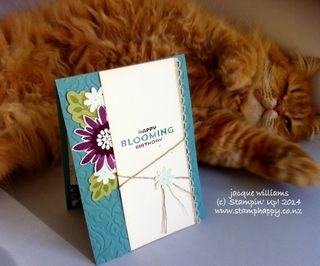 Stampin up flower patch cute cat vintage card