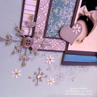 Stampin up snowflake thinlits scrapbooking layout glimmer all is calm