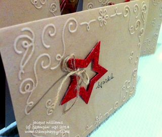 Stampin up filigree frame red glimmer paper star