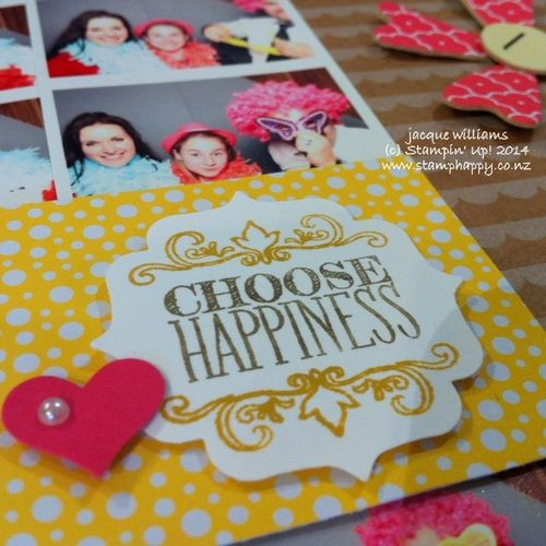 Stampin up all abloom choose happiness label punch scrapbooking layout