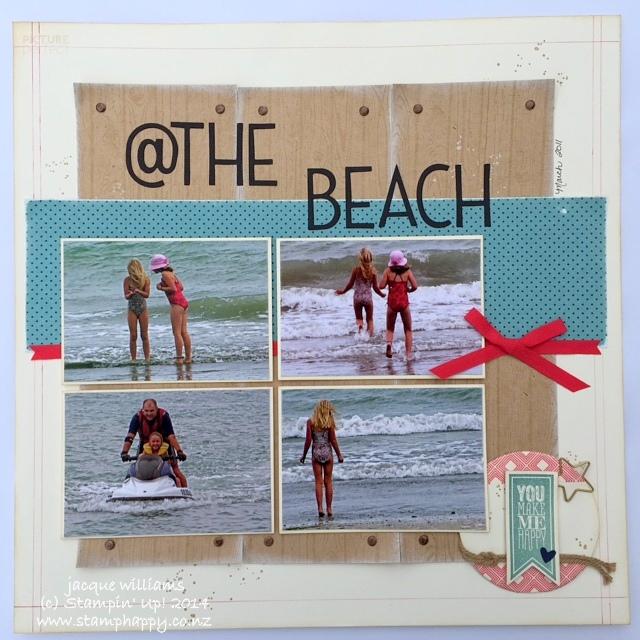 Stampin up scrapbooking beach layout hardwood flowerpot