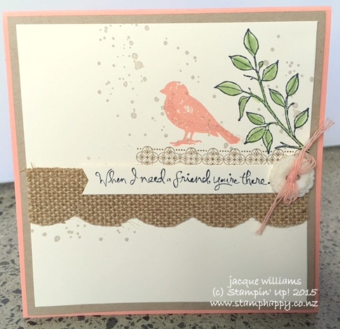 Stampin up choose happiness burlap trim vintage