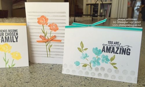 Stampin up painted petals notecards