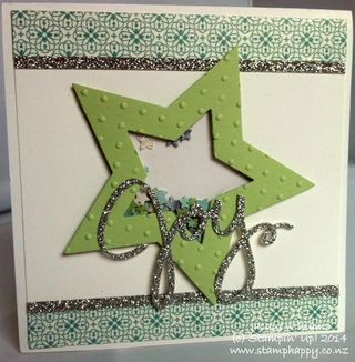 Stampin up star punch shaker card all is calm chrismas washi tape