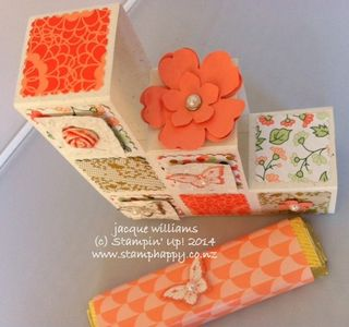 Stampin up building block card paper clay gold soiree