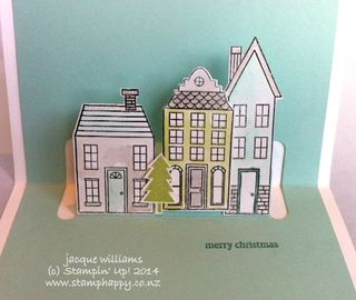 Stampin up holiday home pop up easy christmas card