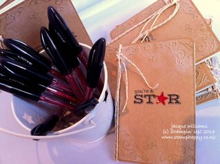 Stampin up gift journal grid pictogram punches pens altered