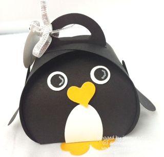 Stampin up curvy box penguin punch art