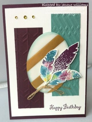 Stampin up four feathers baby wipe technique card