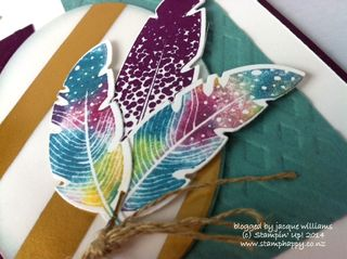 Stampin up four feathers technique baby wipe