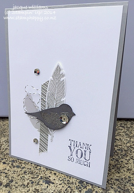 Stampin up four feathers silver blackberry bliss