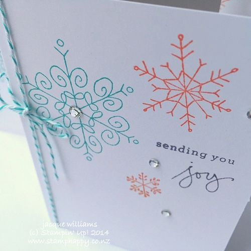 Stampin up endless wishes tangerine tango bermuda bay happy christmas