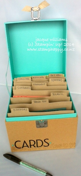 Stampin up card organizer box easy file tab
