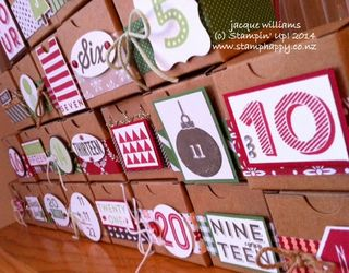 Stampin up advent calendar 25 days tiny treat boxes