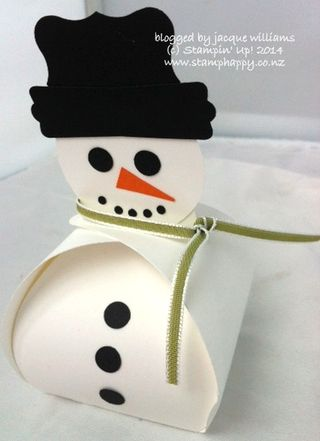 Stampin up curvy box die snowman punch art