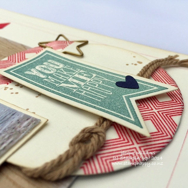 Stampin up scrapbooking perfect pennants baked brown sugar beach house layout