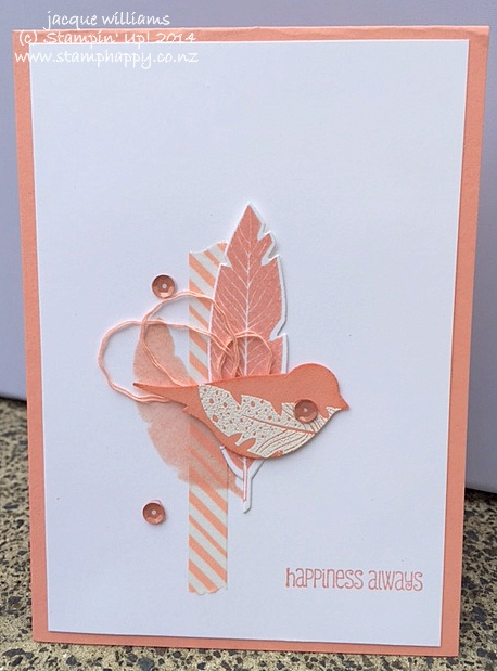 Stampin up four feathers crisp cantaloup