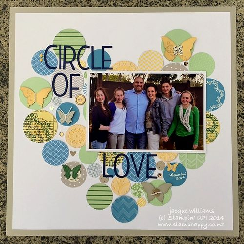 Stampin up scrapbooking layout circles hearts love family butterflies masculine
