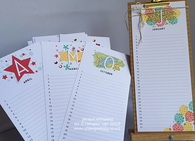 Stampin up perpetual calendar simply created kit